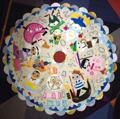 Disney It's a Small World Clock tower child parade Christmas tree skirt