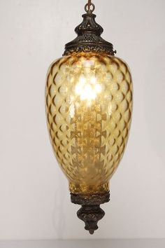 wonderful amber glass vintage swag lamp!