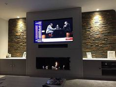 35 Amazing Wall TV Cabinet Designs for Cozy Family Room. 35 Amazing Wall TV Cabinet Designs for Cozy Family Room – Whether you live in a spacious house or live in a small apartment, the living room is a place where you can relax with your family, e… Wall Units With Fireplace, Home Fireplace, Living Room With Fireplace, Fireplace Design, New Living Room, Living Room Decor, Bioethanol Fireplace, Fireplace Ideas, Small Living