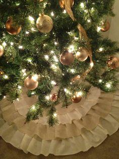 Ruffled Burlap Christmas Tree Skirt - Made to Order, via Etsy.