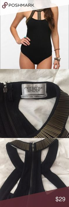 """Urban Outfitters Out From Under high neck bodysuit This is a super cool urban outfitters Out FromUnser black and gold bodysuit. Size small.  95% cotton 5% spandex. Snaps closed and zips up the back. Bust 28"""". Lots of stretch. No flaws. Mint condition. Urban Outfitters Tops"""
