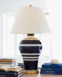 Ralph Lauren Navy Stripe Lamp  - I love this lamp for the nautical theme, but not the price tag!  I may just need to try duplicating this with a thrift store find.