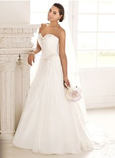 Wedding Dresses - $177.39 - A-Line/Princess Strapless Sweetheart Court Train Chiffon Wedding Dress With Beading (0025093718)
