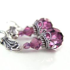 Hey, I found this really awesome Etsy listing at https://www.etsy.com/listing/92090502/amethyst-crystal-earrings-swarovski