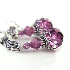Amethyst Crystal Earrings Swarovski Purple Crystal Dangle Earrings Antique Silver Earrings Vintage Style Purple Earrings