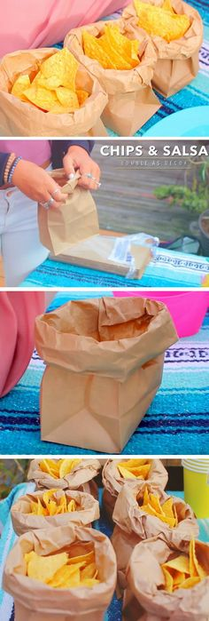DIY Paper Bag Chip Holder! Make life easier and mess free! Use this quick trick to hold your chips this Cinco de Mayo! Everyone will have their own individual bag.
