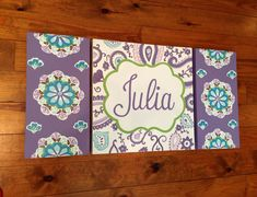 large colorful nursery art - personalized- hand painted- M2M Pottery Barn Brooklyn bedding- purple aqua  floral paisley