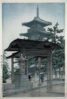 KAWASE Hasui 川瀬 巴水 (1883-1957) - Collection of Scenic Views of Japan II, Kansai Edition - Zensetsu Temple