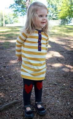 Denim Jeggings Red Heart Knee Patches ..Kids by HappyCampersShop