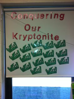 Superhero themed classroom- students identify their weakness. Their personal goal for the year is to battle their weakness.