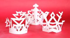 Snowflake crowns craft headpieces template to cutout + instructions: Happythought Holiday craft activity pack!