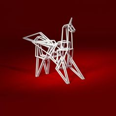 http://shpws.me/Kax7 Origami wireframe unicorn. #3dprint #3dprinting #shapeways #origami #unicorn #android #bladerunner #replicant #desktoys by edrice_shapeways