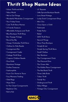 Here is a list of the best thrift shop name ideas. Extract thrift store names from this list and figure out the best resale shop names for your new business. Store Names Ideas, Shop Name Ideas, Shop Name List, Fashion Store Names, Name Board Design, Boutique Names, Resale Store, Name Generator, Blog Names