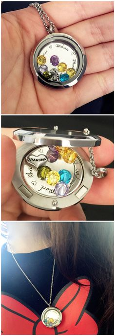 "Create the Perfect Personalized Gift for any occasion! Choose a heart with either ""Mom"" or ""Grandma"" on it as well as up to 7 birthstones inside the locket. Want to make this locket even more special? You can include an engraving on the disc inside the locket!  Order Now, SAVE  40% !!"