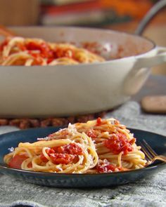 "This satisfying pasta with a sauce of bacon, onions and tomatoes is one of Lucinda's favorites. Adapted from the book ""Lucinda's Rustic Italian Kitchen,"" by Lucinda Scala Quinn (Wiley)."