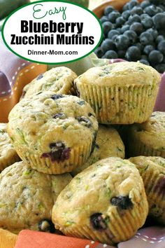 Zucchini Blueberry Muffins : Blueberry Zucchini Muffins with Greek yogurt combine two powerhouse ingredients into a healthy snack or breakfast in this easy recipe! Blueberry Zucchini Muffins, Blueberry Recipes, Blue Berry Muffins, Healthy Zuchinni Muffins, Blueberries Muffins, Mini Muffins, Brunch Recipes, Gourmet Recipes, Muffin Recipes