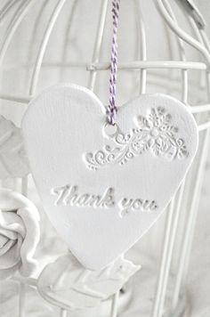 Thank You Handmade Clay Heart Tags White by Evelyncraft on Etsy, £2.50- very pretty