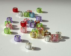 tea lights (just photo, but looks easy to make from beads, wax, and thread)