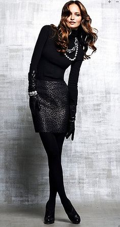 I am DEF doing this with my black turtleneck, dark snake print skirt, gotta get some black tights though! I love this all black ensemble--down to the black gloves!!!