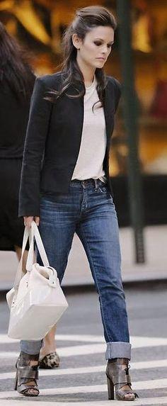 Street style collarless blazer, denim and edgy heels