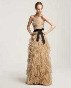 tadashi soji champagne dress   Ash Tadashi Shoji Strapless Feathery Gown in Beige (Champagne)