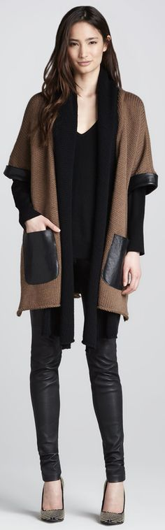 L'Agence Leather Trim Wool Cardigan, Sweater & Leather Pants