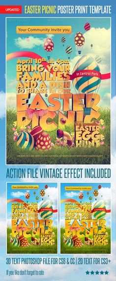 Easter Picnic Poster Print Template