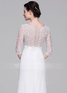 A-Line/Princess V-neck Floor-Length Beading Sequins Cascading Ruffles Zipper Up Covered Button Sleeves 1/2 Sleeves Beach Hall General Plus No Winter Spring Fall Ivory Chiffon Wedding Dress