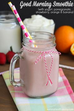 Good Morning Smoothie - delicious smoothie made with pomegranate juice, strawberry, orange, banana and Real California milk  yogurt. Perfect start to your day!
