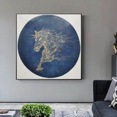 Horse painting on canvasoriginal abstract painting Large Canvas Wall Art, Extra Large Wall Art, Blue Abstract Painting, Abstract Wall Art, Horse Canvas Painting, Contemporary Abstract Art, Texture Art, Stretching, Artworks