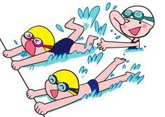 プール 水泳 バタ足の練習 イラスト