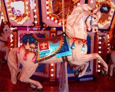 White Carousel Horse Print By Amy Vangsgard