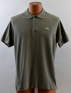 Lacoste Green Short Sleeve Polo Shirt Men's 5 Medium Excellent Used #Lacoste #PoloRugby