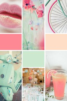 Moodboard Dreams of Spring (rose, mint green and peach) - perfect inspiration for brand design or colour palettes!Midweek Moodboard Dreams of Spring (rose, mint green and peach) - perfect inspiration for brand design or colour palettes! Colour Schemes, Color Trends, Colour Palettes, Coral Colour Palette, Color Combinations, Pantone Cards, Aesthetic Header, Use E Abuse, Website Design
