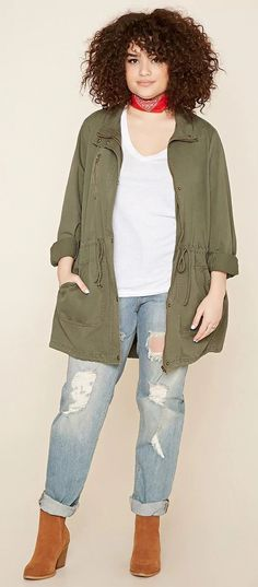 Plus Size Drawstring Jacket