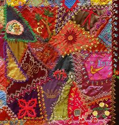 I ❤ crazy quilting . . . One Of The Centre Patches Part of the Crazy Quilt with Grandmother's Fans