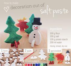 How to make decoration out of salt paste    http://www.curiouscat.de/2012/12/anleitung-dekoration-aus-salzteig/