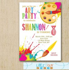 art paint party invitations printable birthday invitation, party invitations