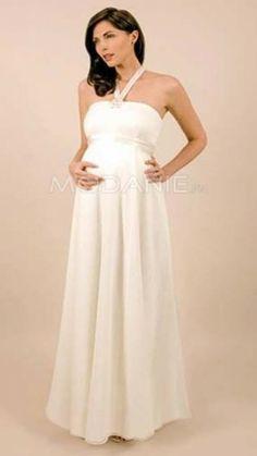 Bretelles au cou Robe de mariée enceinte mousseline de soie [#M1406095592] - modanie