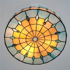 """Model: Tiffany 3 Lamps Drum Ceiling Light Diameter 40cm/15.7""""; Height 9cm/3.5""""; Material: Metal + Stained Glass Color: (As picture shows); Weight: about 3kg Bas"""