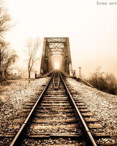 Train Bridge in the Fog 8 x 10 Art Print. $18.00, via Etsy.
