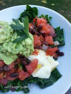 Bob Harper's power breakfast bowl with kale, egg whites, pico de gallo, guacamole. RACHAEL RAY SHOW'S WEIGHT LOSS WARRIORS EPISODE