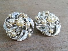 Vintage Faux Pearl and Rhinestone Clip On Bridal Earrings from JamieRayCreations, $7.50 https://www.etsy.com/listing/199594647/vintage-faux-pearl-and-rhinestone-clip?ref=listing-0