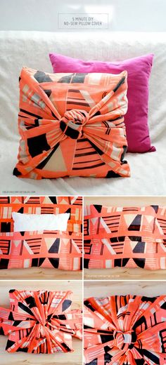 DIY No sew scarf pillow cover in 5 minutes