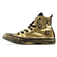 Converse All Star Gold Luxury Black Sneakers ($195) ❤ liked on Polyvore featuring shoes, sneakers, gold shoes, gold trainers, converse sneakers, black trainers and converse shoes