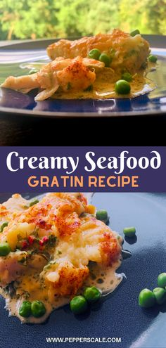 Creamy seafood gratin takes the deeply satisfying notion of comfort food to a higher level. A trio of creamily spiced seafood is crowned by buttery mashed potatoes, flavored with garlic and Parmesan and a spark from red serrano peppers. #seafood #seafoodgratin #gratin #mashedpotatoes #garlicandparmesean #serranopeppers #seafoodgratincreamy Chipotle Recipes, Fish Recipes, Meat Recipes, Seafood Recipes, Mexican Food Recipes, Seafood Dinner, Fish And Seafood, Gratin Dish, Stuffed Hot Peppers
