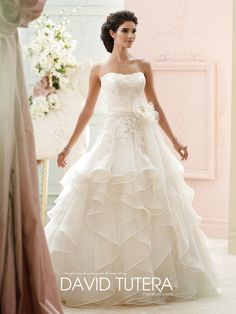David Tutera - Ruffle wedding dress, Strapless organza and hand-beaded corded lace ball gown, softly curved neckline, lace bodice, detachable organza self-tie sash with flower pin, dropped waistline,