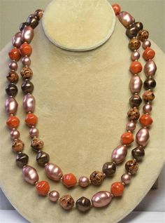 "JOAN RIVERS GOLD EP CORAL & BROWN CZECH GLASS BAROQUE BOLD BEAD 44"" NECKLACE NEW 
