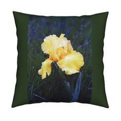 Catalan Throw Pillow featuring KRLGYellowIrisOnGreenLARGE by karenspix   Roostery Home Decor
