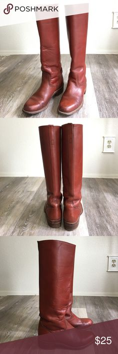 """FRYE • Boots ($$ FIRM) Shaft height: 15"""" Calf Circumference: 14.25"""" Insole: 9"""". They have pull straps in the shaft. Leather sole with rubber and stacked heel. Water marks on sides. Back stitching came undone up by the shaft opening and some cuts in the leather. Other than that they are great boots. The stitching can be fixed and the cuts aren't deep. I would wear them just as back-ups. Frye Shoes Heeled Boots"""